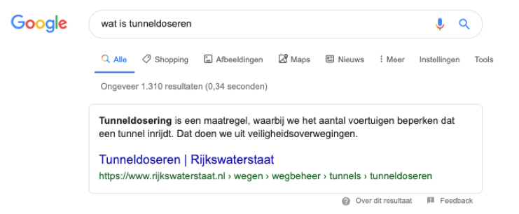 featured snippet Rijkswaterstaat in zoekresultaten